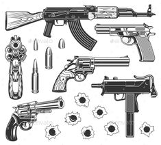Set of Bullet Holes and Guns Set of bullet holes with gun. Isolated on white background. Vector illustration. #Bullet, #Set, #Guns, #Holes Tattoo Design Drawings, Tattoo Sketches, La Santa Muerte Tattoo, Body Art Tattoos, Sleeve Tattoos, Black Tattoos, Bullet Tattoo, Lettrage Chicano, Gangster Tattoos