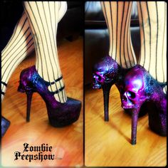 """Custom heels by ZombiePeepshow Skull """"Purgatory"""" Wedges and Heels $160.00 By chalany