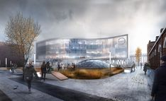 visualization of University on Behance 3d Visualization, Trade Show, Digital Photography, Gate, University, Behance, Exterior, Clouds, Architecture