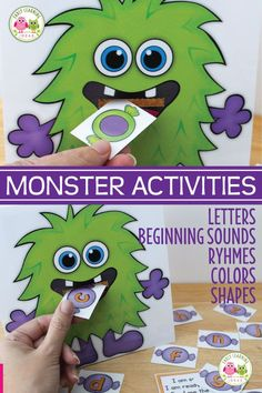Try these fun monster activities for preschool. Teach letters, sounds, rhymes, color and shapes with this printable set.perfect for Halloween & beyond. Halloween Theme Preschool, Preschool Themes, Halloween Activities, Halloween Projects, Monster Activities, Rhyming Activities, Group Activities, Shape Activities, Toddler Activities