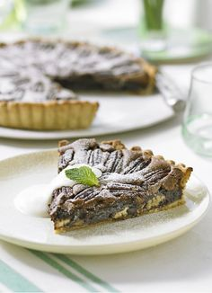 What's better than a brownie? A chocolate brownie-filled tart with a crisp pecan topping. This rich dessert is easily made ahead if you are entertaining. Serve with creme fraiche or ice-cream.