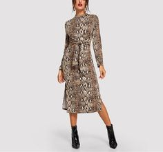 On Second Thought: Mock Neck Snake Print Tie Front Below Knee Dress Next Dresses, Dresses For Work, Luxury Dress, Stylish Dresses, Snake Print, Mock Neck, Sleeve Styles, Autumn Fashion, Fall Fashions
