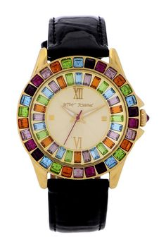 Women's Multicolored Leather Watch