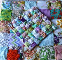 Patchwork Quilts With Vintage Sheets, Chenille and Anna Maria Horner Fabric by Nesha's Vintage Niche, via Flickr
