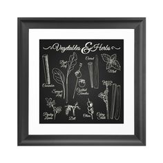 Fresh vegetables and herb drawings are served up on our deliciously petite art print. It's perfect for your kitchen, especially if you're in love with the farm theme, growing your own, or serving fresh...  Find the Foodie Chalkboard Art Print, as seen in the Styles We LOVE: Rustic Collection at http://dotandbo.com/collections/styles-we-love-rustic?utm_source=pinterest&utm_medium=organic&db_sku=105136