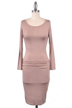 Shaken Not Stirred Ruched Midi Dress - Mocha - $40.00 | Daily Chic Dresses | International Shipping