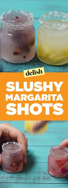 These slushy margarita shots are the cutest way to do happy hour. Get the recipe on Delish.com.