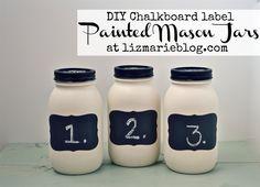 DIY chalkboard label painted mason jars at lizmarieblog.com