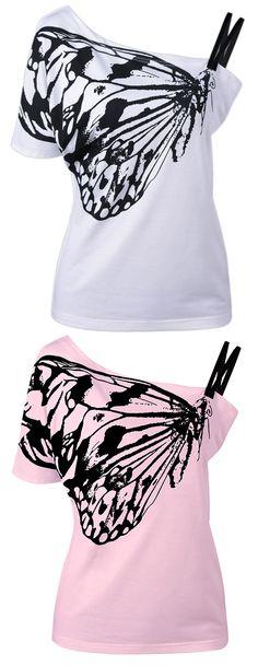 Skew Collar Butterfly Print T-Shirt