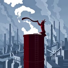Joey Guidone - Smoke Signals. Editorial, Surrealism, Pop Surrealism, Conceptual, Design, Poster, Advertising, Pollution, City, Industry, Factory, Environment, Sustainability, Climate change, Native American