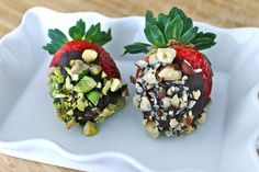 Dark Chocolate Dipped Strawberries covered in heart-healthy nuts {via the FitCook} YES, PLEASE.