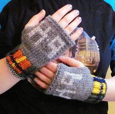 K-9 knit fingerless gloves Doctor Who fan art made to order