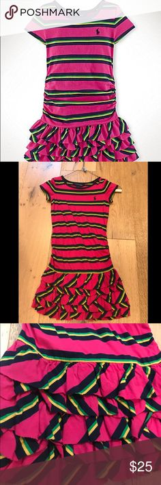 RALPH LAUREN GIRLS SIZE:6 stripped dress RALPH LAUREN girls size: 6 . Pink dress with strips of green and yellow.  A very cute fitting dress my daughter loved it.  She only wore it a couple times in great shape.  Great condition. Ralph Lauren Dresses Casual