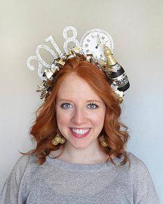 new years headband adult, new years eve 2018 headband by Tinseled Tiara! Christmas Headpiece, Christmas Hat, Christmas And New Year, New Year Headband, Diy Headband, Headbands, New Year's Eve Hats, New Years Eve 2018, New Years Hat