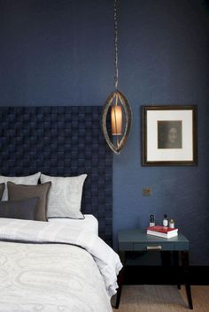 Appropriate midnight blue bedroom with woven headboard [cubby cozy bedroom chair cozy bedroom design Dark Blue Bedrooms, Blue Bedroom Walls, Blue Bedroom Decor, Blue Rooms, Cozy Bedroom, Bedroom Colors, Bedroom Chair, Master Bedroom, Design Bedroom