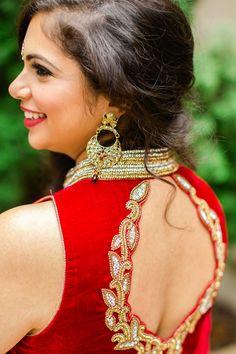 red wedding salwar kameez with cut eyelet