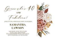 Nocturnal Flowers - Birthday Invitation #invitations #printable #diy #template #birthday #party Daisy Cafe, 40 And Fabulous, Free Birthday Invitations, Rsvp, Printable, Place Card Holders, Messages, Party, Flowers