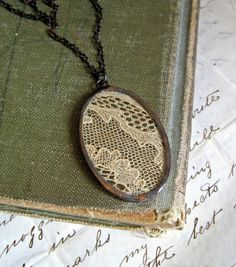 Vintage lace necklace.  Wonder if grandma's crochet would work.