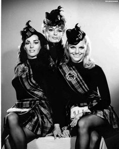"Edy Williams, Marilyn Hanold, and Sivi Aberg as ""Rae"", ""Doe"", and ""Mimi"", in a promo photo for the episodes The Dead Ringers and The Devil's Fingers of TV's Batman - ca. 1966."