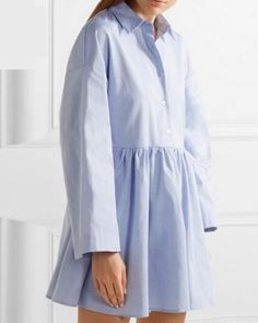 Blue trumpet sleeve shirt dress tie back top for women