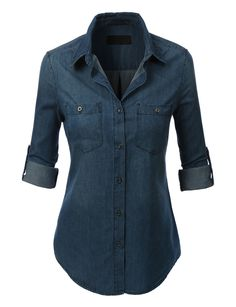LE3NO Womens Lightweight Button Down Denim Jean Shirt with Pockets   LE3NO