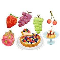 いちご・ベリー類、キウイ、キワノ、さくらんぼ、ざくろ、スターフルーツ、ドラゴンフルーツ、ぶどう(マスカット)、梨などの果物 おまけでプリン、ミックスベリータルト  大きい...