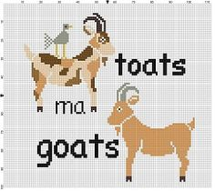 Toats ma Goats Cross Stitch Pattern Instant by SnarkyArtCompany Cross Stitching, Cross Stitch Embroidery, Hand Embroidery, Little Stitch, Modern Cross Stitch Patterns, Bead Patterns, Cross Stitch Needles, Cross Stitch Flowers, Goats