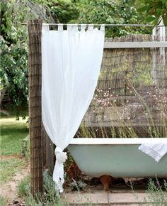 I know I don't live it the right climate, but I have always wanted an outdoor bath :) The Orchard Keepers Cottage at the Red Hill property of Lucy Hill and family – all photos Lucy Feagins via The Design Files Daily Garden Bathtub, Outdoor Bathtub, Outdoor Bathrooms, Outdoor Rooms, Outdoor Gardens, Outdoor Living, Outdoor Decor, Outdoor Bars, White Bathrooms