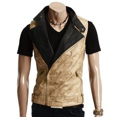 Amazon.com: Doublju Mens Unbalanced Zipper Style Leather Vest: Clothing