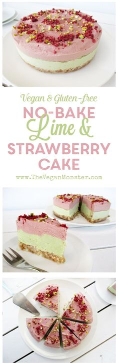 No-Bake Lime Strawberry Cake. Vegan, Gluten-free, No Refined Sugar :)