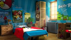 Kids Bedroom Decor on Kids Bedroom Wall Designs Decorating Ideas With Angry Birds Space Bird Bedroom, Gamer Bedroom, Bedroom Games, Bedroom Decor, Bedroom Ideas, Video Game Bedroom, Video Game Rooms, Video Games, Game Room Furniture