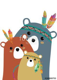 Tribal family of colored bears Felt Animals, Cute Animals, Scrapbooking Image, Kids Prints, Art Prints, Baby Posters, Kawaii Doodles, Autumn Painting, Bear Art
