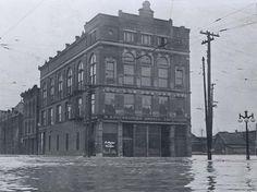 3rd and Market in Logansport — 1913 Flood