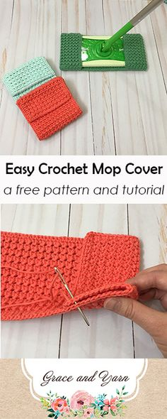 Easy crochet mop cover pattern, perfect for cleaning!