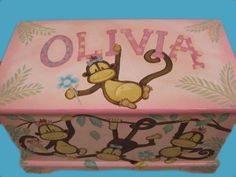 Custom Designed Jungle Monkey Toy Chest With Polka Dots, Done With Monogram Or…