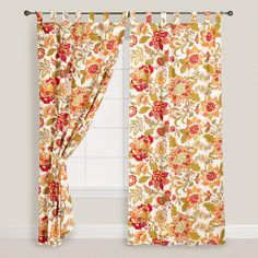 Floral Kavita Cotton Tab Top Curtain - World Market from Cost Plus World Market. Ikea Curtains, Tab Top Curtains, Yellow Curtains, Drop Cloth Curtains, Floral Curtains, Colorful Curtains, Hanging Curtains, Cafe Curtains, Layered Curtains