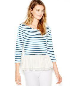 Maison Jules Three-Quarter-Sleeve Striped Ruffled Top - Tops - Women - Macy's