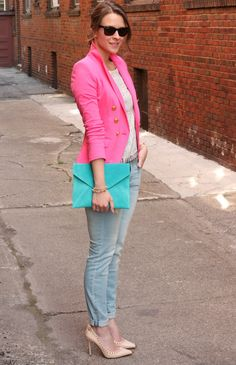 i love the combination of colors in this outfit..    from http://www.pennypincherfashion.com/