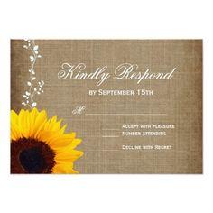 Rustic Country Vintage Sunflower Wedding RSVP Card Country Wedding Invitations, Custom Country Wedding Invitations