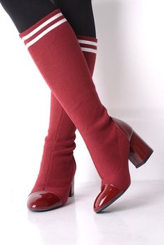 22cdec9496e Red Knee Length Stretch Sock Boots