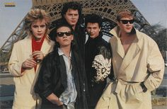 """Duran Duran. Ah must be the group photo that John Taylor referenced in his book """"In The Pleasure Groove"""" that was so awkward for them to pose for. They still look good!"""