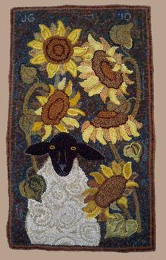 "woodcrestrugdesigns.com  "" Sheep in Sunflowers""   22 x 40"