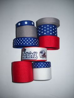 GROSGRAIN NEW ENGLAND PATRIOTS FOOTBALL NFL RIBBON LOT+FLAT BACK RESINS FOR BOWS