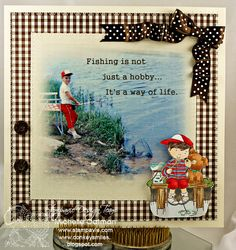 Stamps, Paper, Scissors and Donkey Smiles: My Hubby's Fishing Scrapbook Page.. too cute