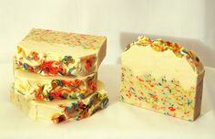 'Snowcake' soap. Handmade, vegan, palm oil free, cold process soap. Made by The Coventina Soapery, UK.
