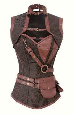 Braunes Steampunk Korsett mit Shrug, Gürtel und Taschen LARP Bolero Brokat | eBay