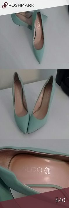 Aldo teal heels Aldo leather teal heels sz 10. Shoes show some wear see pics aldo Shoes Heels