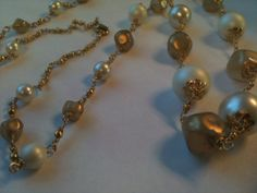 Long Chain Pearl Necklace Faux Vintage Pearls in Golds by HBMUSE, $110.00