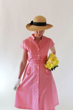 New!  A Fresh Spring Breeze  Sale 1950s Dress Coral White Striped Spring Dress by gogovintage, $72.00
