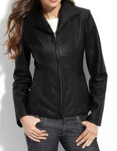 Women Stylish slim fit front zip Lambskin Bomber Biker leather jacket WJ338 #Handmade #BasicJacket